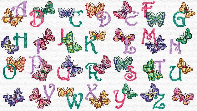 Maria Diaz Designs: BUTTERFLY ALPHABET (Cross-stitch Chart