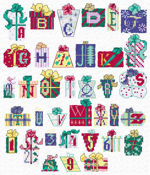 Maria Diaz Designs: XMAS ALPHABET (Cross-stitch chart): mariadiazdesigns.com/mdd/shop.php?showid=65