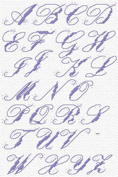 Maria Diaz Designs: SCROLL ALPHABET (Cross-stitch chart)