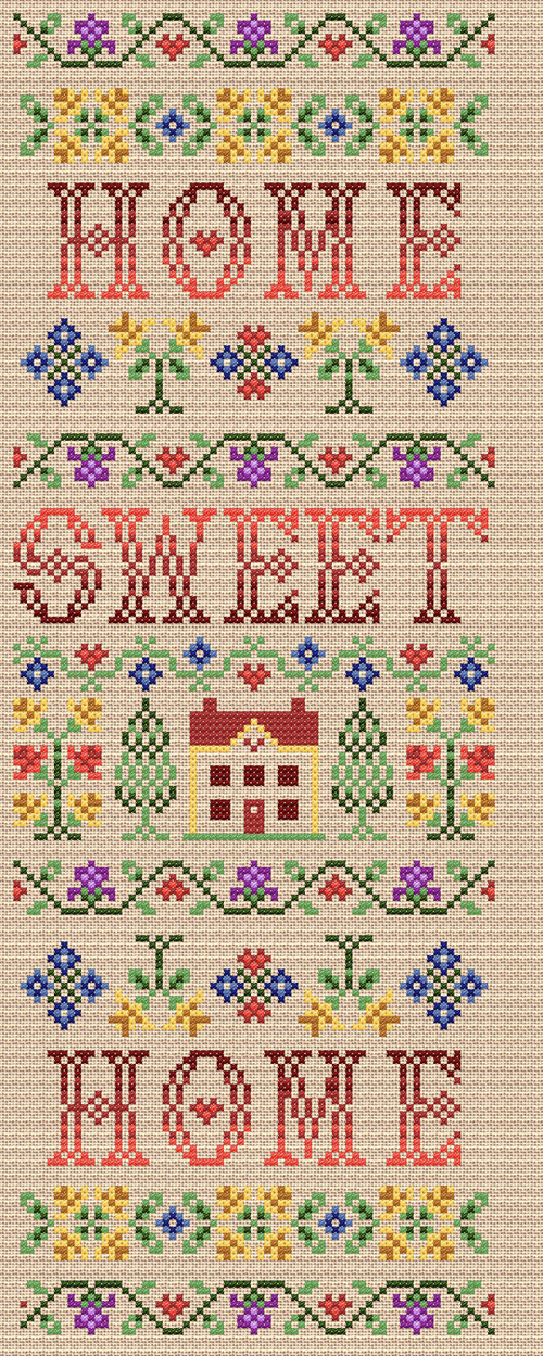 Maria diaz designs home sweet home cross stitch chart - Home sweet home designs ...