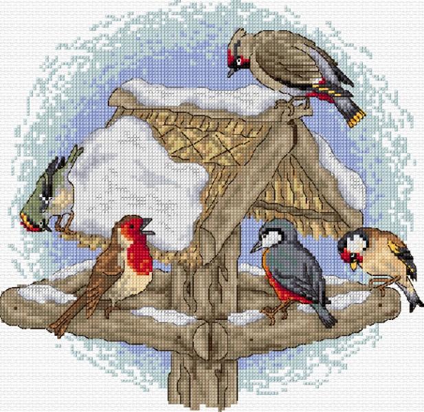 Новым, анимация птицы на кормушке